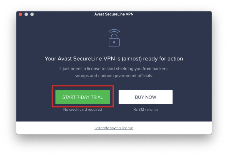 free version of Avast SecureLine VPN Software