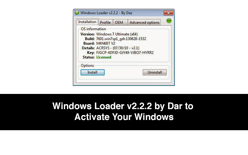 Windows Loader v2.2.2 by Dar to Activate Your Windows