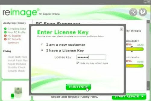 Activate Reimage Repair using License Keys