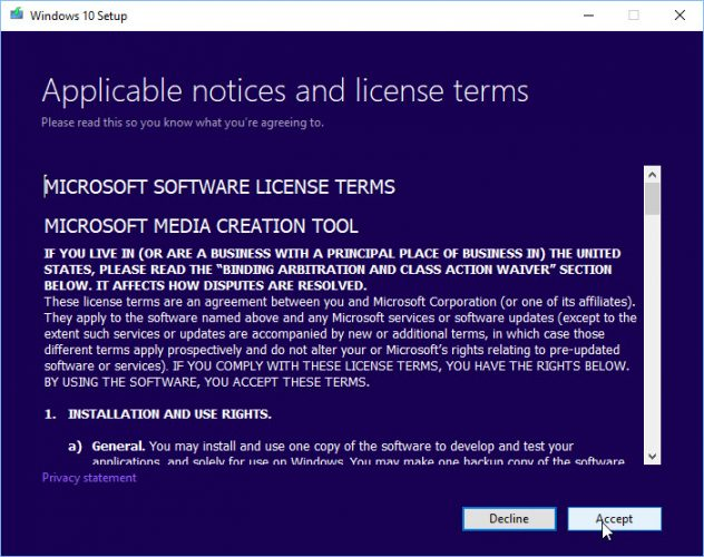"""Accept """"License Agreement"""" to proceed further."""