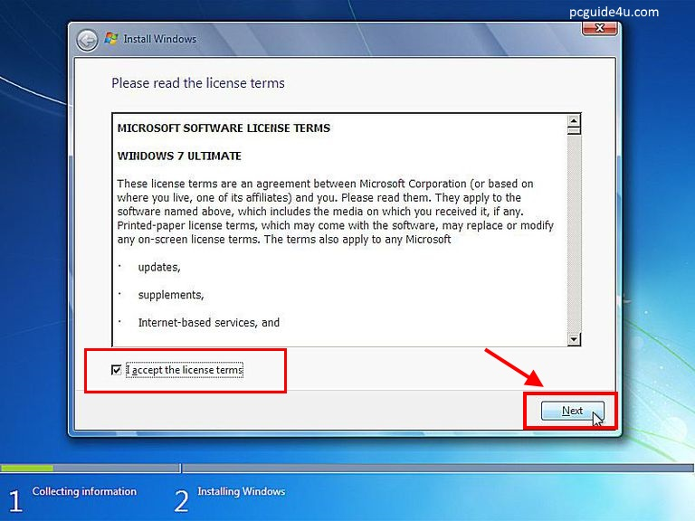 """Accept the license terms and click """"Next"""" to continue"""