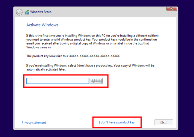 Activate Windows by entering the Product Key