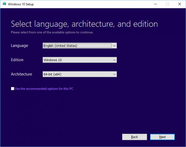 Select Language and other details
