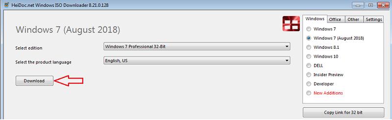 Select the version of Microsoft Windows 7