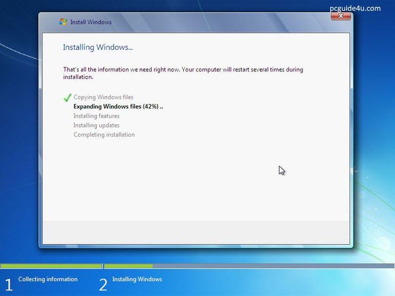 Windows will start installing