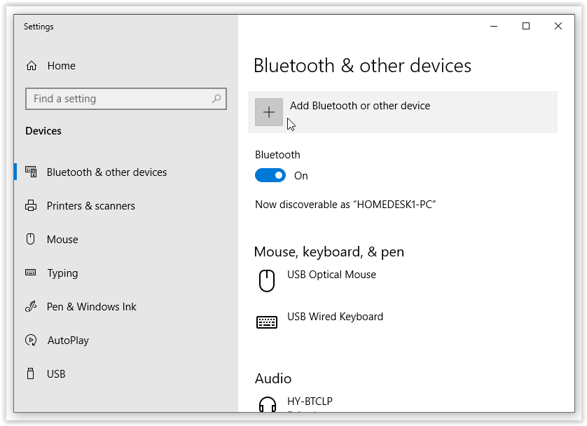 Add Bluetooth or other devices